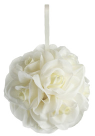 Garden Rose Kissing Ball - Ivory - 6 inch Pomander
