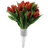 Tulip Bouquet 54 Red/Orange Silk Tulips - Bridal Wedding Bouquet
