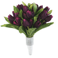 Tulip Bouquet 54 Silk Plum Tulips - Bridal Wedding Bouquet