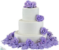 Lavender Silk Rose Cake Flowers