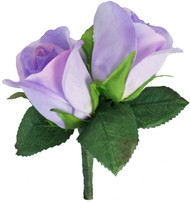 Lavender Silk Rose Double Boutonniere - Groom Boutonniere Prom