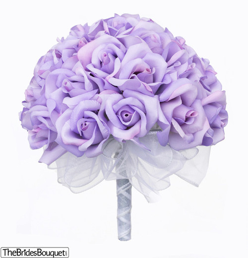Lavender Rose Gypsophila Bridal Bouquet: Lavender Silk Rose Hand Tied Bridal Bouquet
