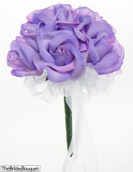 Lavender Silk Rose Toss Bouquet -1 Dozen Silk Roses - Bridal Wedding Bouquet