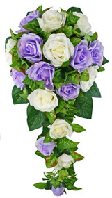 Lavender and Ivory Silk Rose Cascade - Bridal Wedding Bouquet