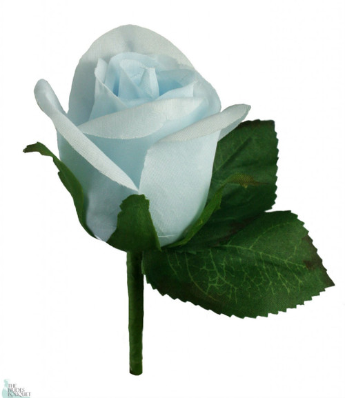 light blue silk rose boutonniere - Garden Rose Boutonniere