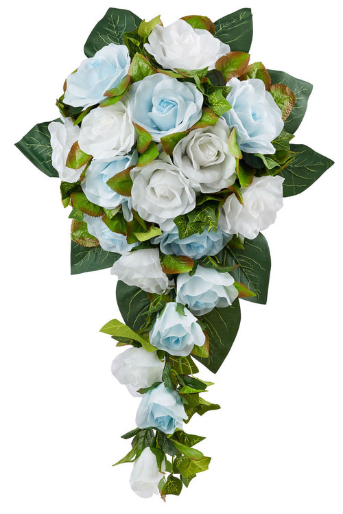 Blue And White Silk Wedding Bouquets : Light blue and white silk rose cascade bridal wedding