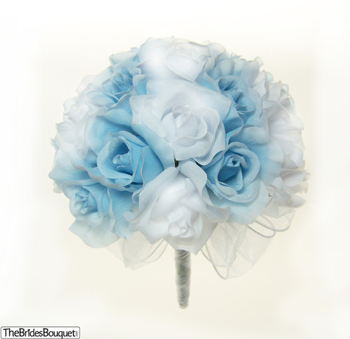 Blue And White Silk Wedding Bouquets : Light blue and white silk rose hand tied bridal bouquet