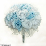 Light Blue and White Silk Rose Hand Tie (3 Dozen Roses) - Bridal Wedding Bouquet
