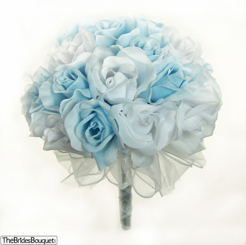 Light Blue and White Silk Rose Hand Tied Bridal Bouquet | 3 Dozen ...