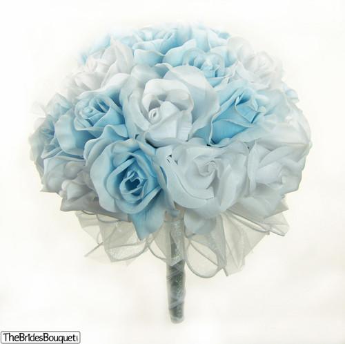 Light Blue and White Silk Rose Hand Tie (3 Dozen Roses) - Bridal Wedding Bouquet