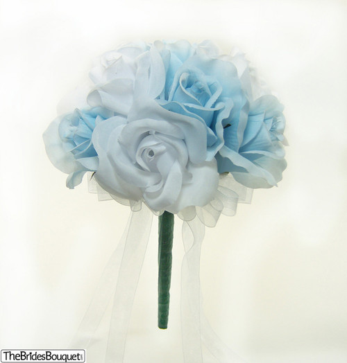 Blue And White Silk Wedding Bouquets : Light blue and white silk rose wedding bouquet