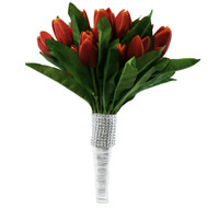 Tulip Bouquet 36 Red/Orange Silk Tulips - Bridal Wedding Bouquet