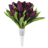 Tulip Bouquet 36 Silk Plum Tulips - Bridal Wedding Bouquet