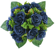 Navy Blue Silk Rose Nosegay - Bridal Wedding Bouquet