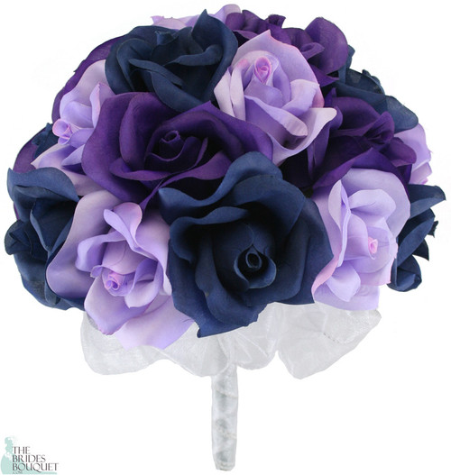 Navy Blue, Lavender and Purple Silk Rose Hand Tie (2 Dozen Roses) - Bridal Wedding Bouquet
