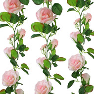 Pink Silk Rose Garland - Wedding Decoration