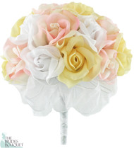 Pink, Yellow and White Silk Rose Hand Tie (2 Dozen Roses) - Bridal Wedding Bouquet