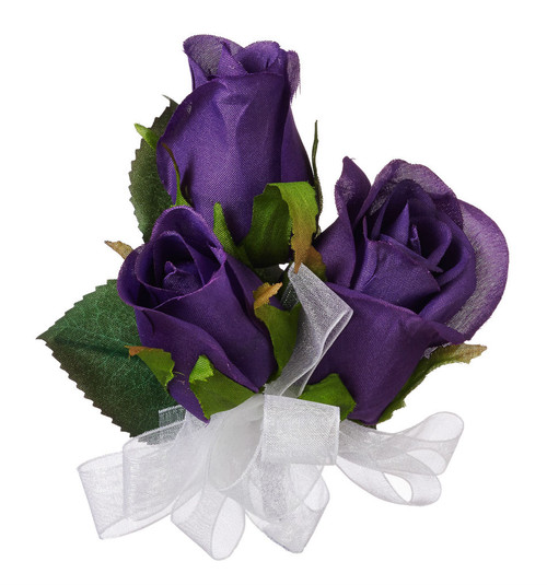Purple Silk Rose Corsage - Wedding Corsage Prom