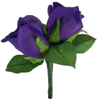 Purple Silk Rose Double Boutonniere - Groom Boutonniere Prom