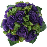Purple Silk Rose Nosegay - Bridal Wedding Bouquet