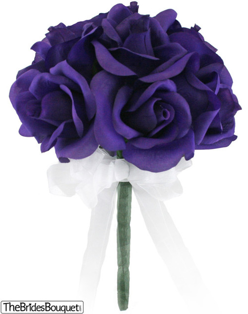12 Purple Roses - Silk Flower Bridal Bouquet - Wedding Toss ...