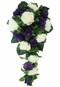 Purple and Ivory Silk Rose Cascade - Bridal Wedding Bouquet