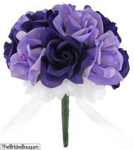 Purple and Lavender Silk Rose Toss Bouquet -1 Dozen Silk Roses - Bridal Wedding Bouquet
