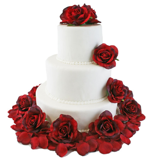 Red silk rose cake flowers reception decoration thebridesbouquet red rose silk cake flowers junglespirit Image collections