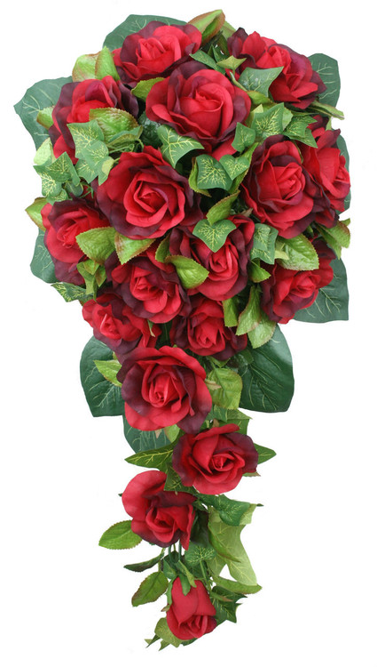 Red Silk Rose Cascade - Bridal Wedding Bouquet