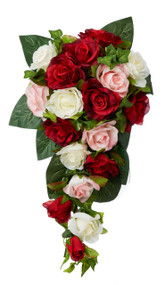 Red, Pink and Ivory Silk Rose Cascade - Silk Bridal Wedding Bouquet