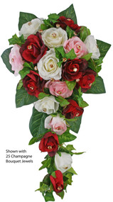 Red, Pink and Ivory Rose Wedding Cascade - Silk Bridal Bouquet