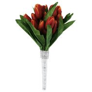 Tulip Bouquet 18 Red/Orange Silk Tulips - Bridal Wedding Bouquet