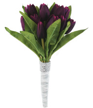 Tulip Bouquet 18 Silk Plum Tulips - Bridal Wedding Bouquet