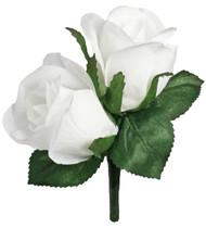 White Silk Rose Double Boutonniere - Groom Boutonniere Prom