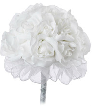 White Silk Rose Hand Tie (24 Roses) - Silk Bridal Wedding Bouquet