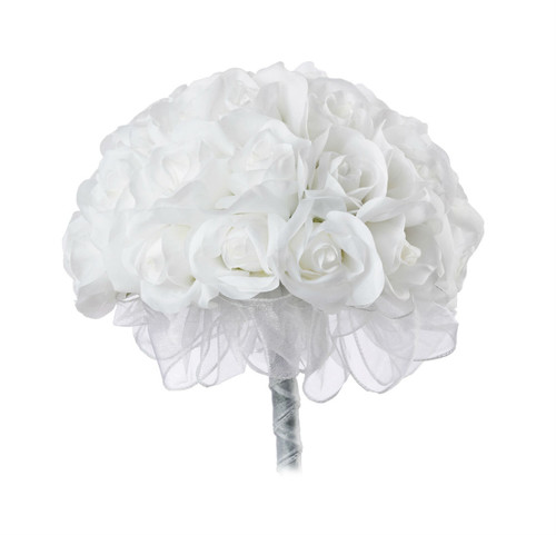 White Silk Rose Hand Tie (3 Dozen Roses) - Bridal Wedding Bouquet