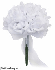White Silk Rose Toss Bouquet - Silk Wedding Toss Bouquet