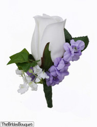 Sweet Lavender Silk Rose Boutonniere