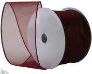 Wired Edge Organza Ribbon - Burgundy - 25 yards