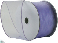 Wired Edge Organza Ribbon - Lavender - 25 yards