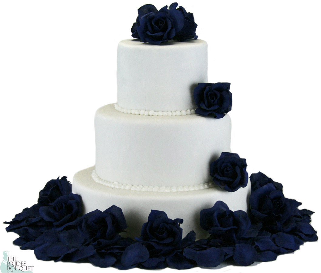 Navy Silk Rose Cake Flowers Reception Decoration