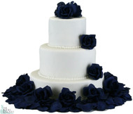 Navy Silk Rose Cake Flowers
