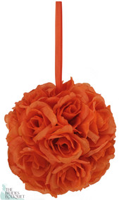 Orange Silk Rose Bud Kissing Ball - Pomander