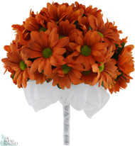 Daisy Bouquet Orange - Silk Daisy Bouquet Large - Bridal Wedding Bouquet