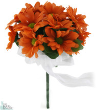 Daisy Bouquet Orange - Silk Daisy Bouquet Small - Bridal Wedding Bouquet