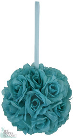 Turquoise Silk Rose Bud Kissing Ball - Pomander