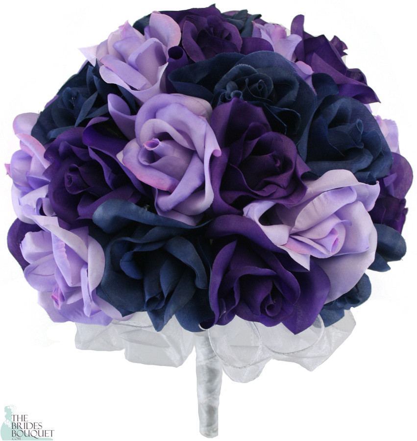 Navy Blue, Lavender and Purple Silk Rose Hand Tied Wedding Bouquet | 3 ...