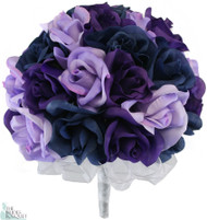 Navy Blue, Lavender and Purple Silk Rose Hand Tie (3 Dozen Roses) - Bridal Wedding Bouquet