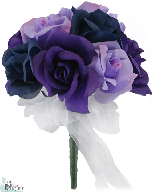12 Roses: Purple + Lavender + Navy - Silk Flower Bridal Bouquet ...