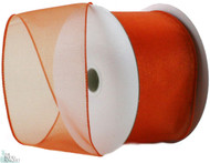 Wired Edge Organza Ribbon - Orange - 25 yards